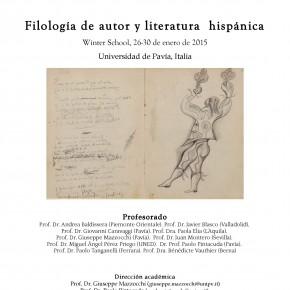 CURSO: FILOLOGÍA DE AUTOR Y LITERATURA HISPÁNICA. UNIVERSIDAD DE PAVÍA.